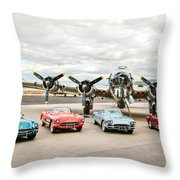 Corvettes And B17 Bomber Throw Pillow