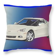 Corvettes In Red White And True Blue Throw Pillow