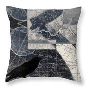 Corvus Star Chart Throw Pillow by Carol Leigh
