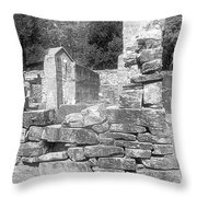 Cosley Mill Ruins In Black And White Throw Pillow