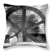 Cosley Mill Waterwheel In Black And White Throw Pillow