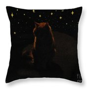 Cosmic Kitty Throw Pillow by Jacquelyn Roberts
