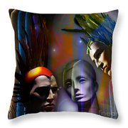Cosmic Mannequins Triad Throw Pillow