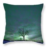 Cosmic Sky Winter Tree Throw Pillow