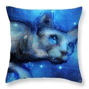Cosmic Sphynx Cat  Throw Pillow