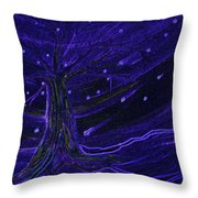 Cosmic Tree Blue Throw Pillow