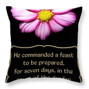 Cosmos Flower With Bible Quote From Esther Throw Pillow