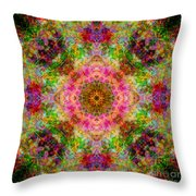 Cosmos Pink Sun Diamond Mandala Throw Pillow