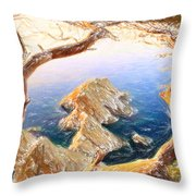 Costa Brava In Spain With Crayons Throw Pillow