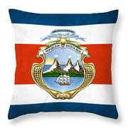 Costa Rica Coat Of Arms And Flag  Throw Pillow