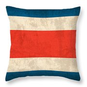Costa Rica Flag Vintage Distressed Finish Throw Pillow