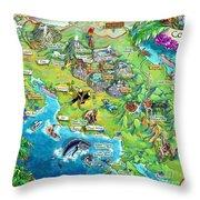 Costa Rica Map Illustration Throw Pillow
