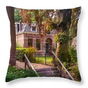 Cottage At The Church In Giethoorn. Netherlands Throw Pillow