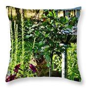 Cottage Bird Garden Throw Pillow