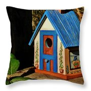 Cottage Birdhouse Throw Pillow