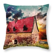 Cottage By The Sea - Abstract Realism Throw Pillow