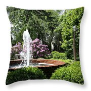 Cottage Garden Fountain Throw Pillow