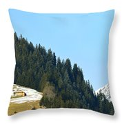 Cottage In Alps Throw Pillow