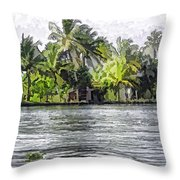 Cottage In The Midst Of Greenery Throw Pillow