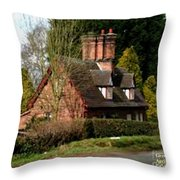 Cottage Next To Road Throw Pillow