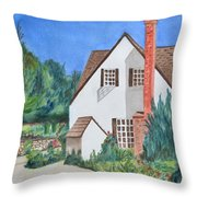Cottage On A Hill Throw Pillow