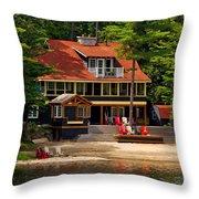 Cottage On A Lake Throw Pillow