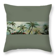 Cottage Rooftops And Palm Trees Harbor Island Throw Pillow