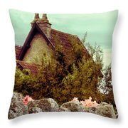 Cottage Seen Over A Wall Throw Pillow