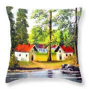 Cottages By The Lake Throw Pillow