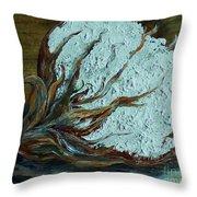 Cotton Boll On Wood Throw Pillow by Eloise Schneider