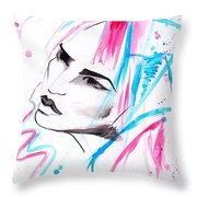 Cotton Candy Girl Throw Pillow