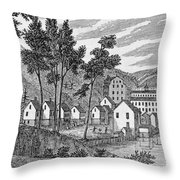 Cotton Factory Village, Glastenbury, From Connecticut Historical Collections, By John Warner Throw Pillow