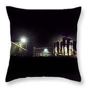 Cotton Ginning At Night Throw Pillow