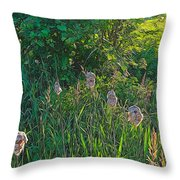 Cotton Monkey Heads Throw Pillow