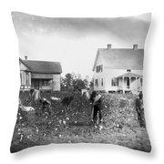 Cotton Picking, 1902 Throw Pillow