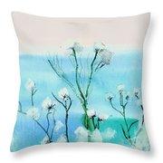 Cotton Poppies Throw Pillow