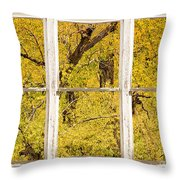 Cottonwood Fall Foliage Colors Rustic Farm Window View Throw Pillow