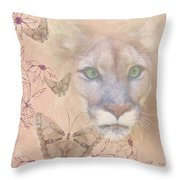 Cougar And Butterflies Throw Pillow