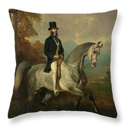 Count Alfred De Montgomery 1810-91 1850-60 Oil On Canvas Throw Pillow