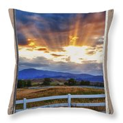 Country Beams Of Light Pealing Picture Window Frame Vie Throw Pillow