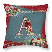 Country Charm Monogramed A Throw Pillow