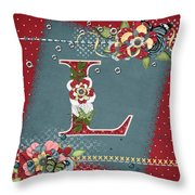 Country Charm Monogramed L Throw Pillow