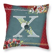 Country Charm Monogramed X Throw Pillow