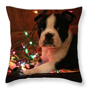 Country Christmas Puppy Throw Pillow