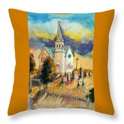 Country Church At Sunset Throw Pillow