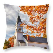 Country Church Under Fall Colors Throw Pillow
