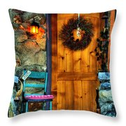 Country Cottage Door At Christmas Throw Pillow