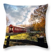 Country Covered Bridge Throw Pillow by Debra and Dave Vanderlaan