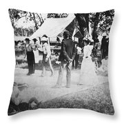 Country Dance, 19th Century Throw Pillow