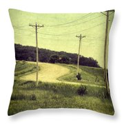 Country Dirt Road And Telephone Poles Throw Pillow